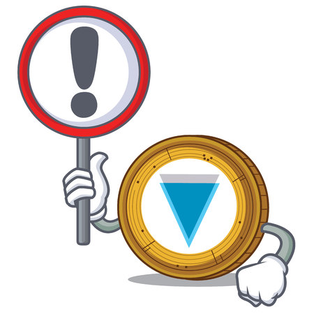 With sign Verge coin character cartoon vector illustration