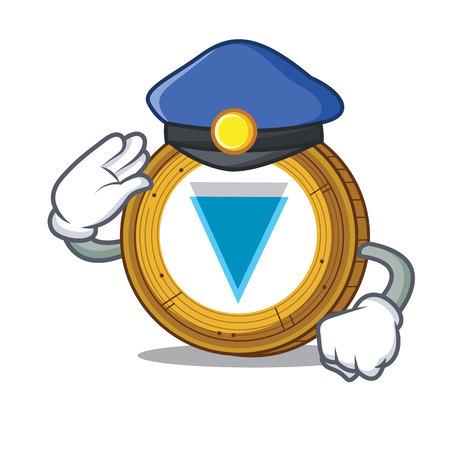 Illustrazione di vettore del fumetto del carattere della moneta del bordo della polizia.