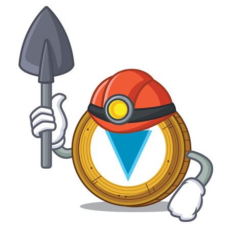 Miner Verge coin mascot cartoon vector illustration Illustration