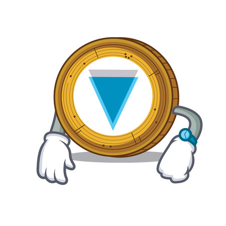 Waiting Verge coin mascot cartoon vector illustration Ilustrace