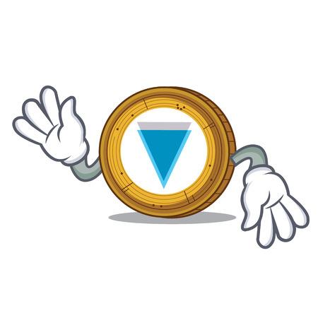 Crazy Verge coin mascot cartoon vector illustration