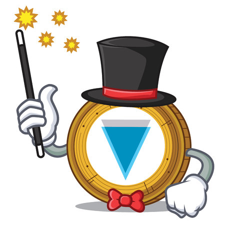Magician Verge coin mascot cartoon vector illustration