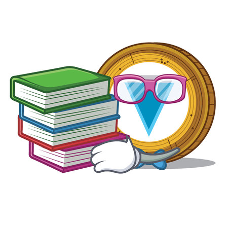 Student with board Verge coin mascot cartoon