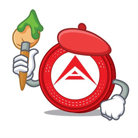 Artist Ark coin character cartoon vector illustration