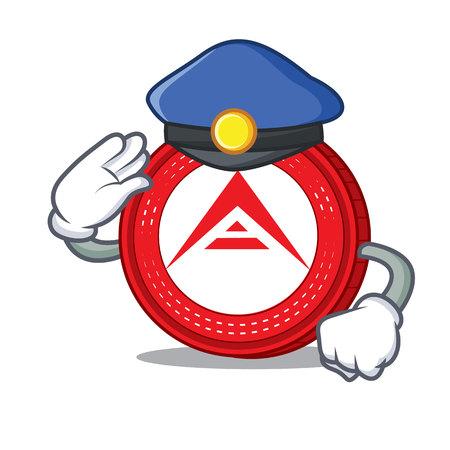 Illustrazione di vettore del fumetto del carattere della moneta dell'Arca della polizia