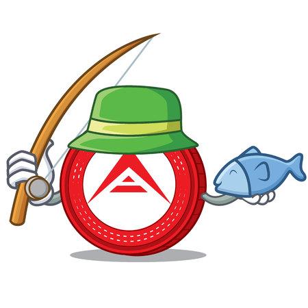 Fishing Ark coin character cartoon vector illustration