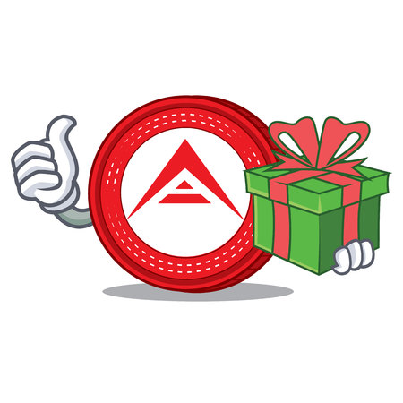 With gift Ark coin character cartoon vector illustration