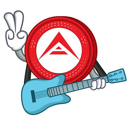 With guitar Ark coin character cartoon vector illustration
