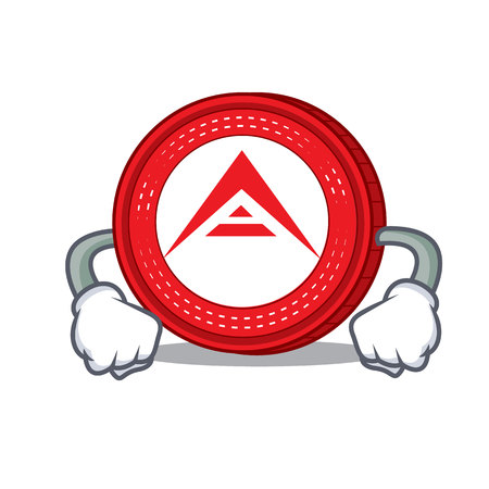 Angry Ark coin mascot cartoon vector illustration
