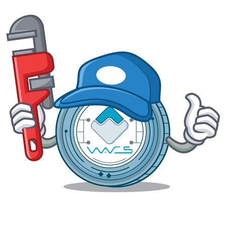 Plumber Waves coin mascot cartoon vector illustration