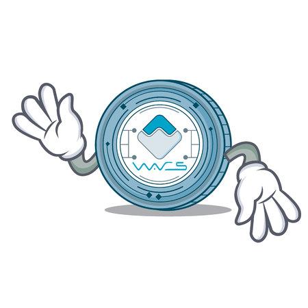Crazy Waves coin mascot cartoon vector illustration