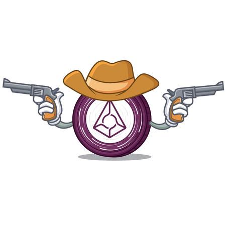 Cowboy Augur coin character cartoon Illustration
