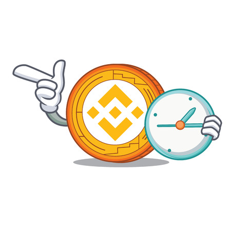 With clock Binance coin character catoon vector illustration