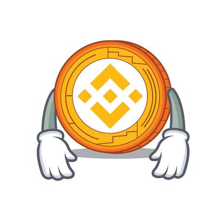 Tired Binance coin mascot catoon vector illustration