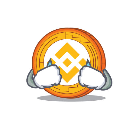 Crying Binance coin mascot catoon vector illustration