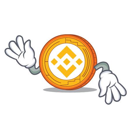 Crazy Binance coin mascot catoon vector illustration