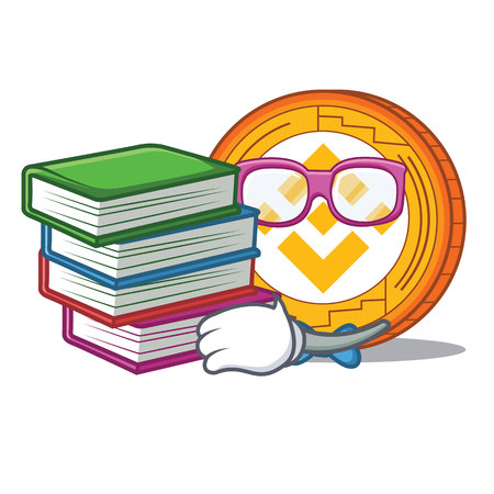 Student with book Binance coin mascot catoon vector illustration