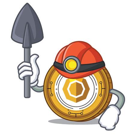 Miner komodo coin mascot cartoon vector illustration