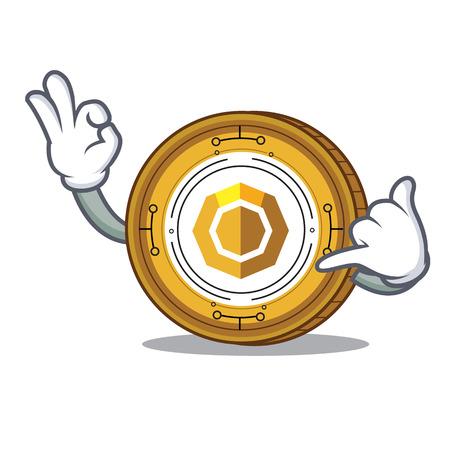 Call me komodo coin mascot cartoon vector illustration