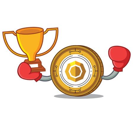 Boxing winner komodo coin mascot cartoon vector illustration