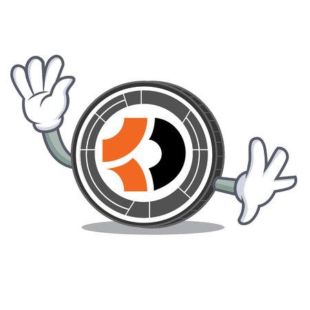 Waving Bitcoin Dark character cartoon Illustration