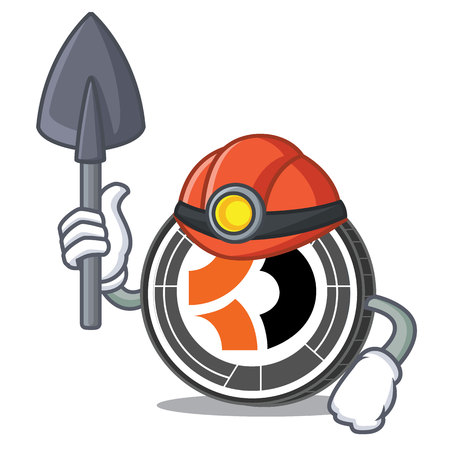 Miner bitcoin dark mascot cartoon