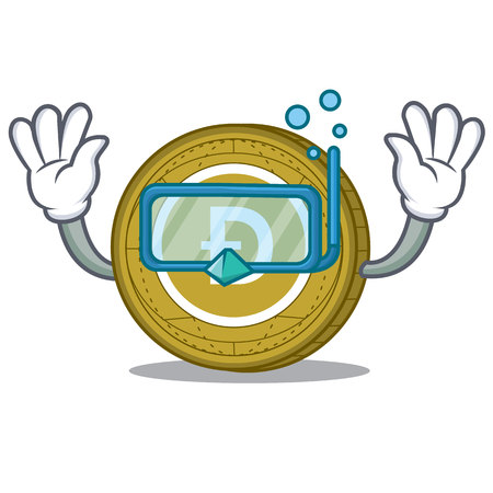 Diving Dogecoin character cartoon style vector illustration