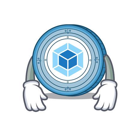 Tired webpack coin mascot cartoon
