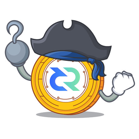 Pirate Decred coin character cartoon Illustration