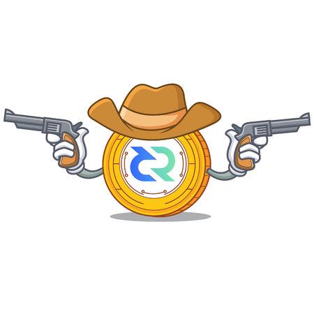 Cowboy Decred coin character cartoon