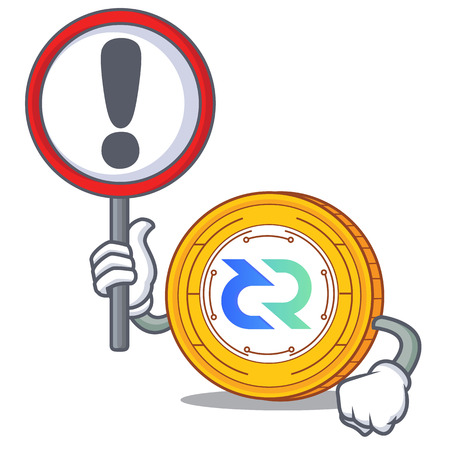 With sign Decred coin character cartoon