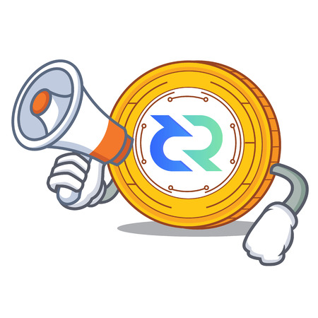 With megaphone Decred coin character cartoon