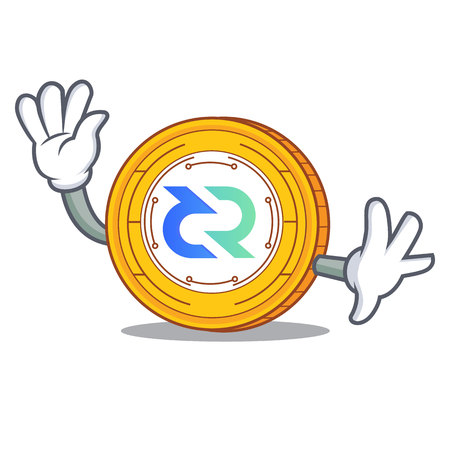 Waving Decred coin character cartoon vector illustration