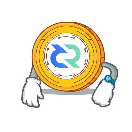 Waiting Decred coin mascot cartoon vector illustration