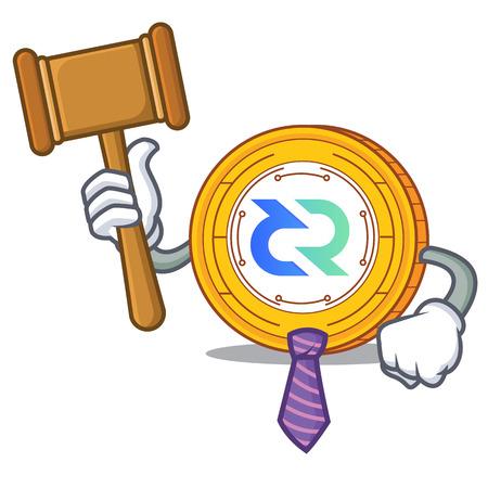 Judge Decred coin mascot cartoon vector illustration Illustration