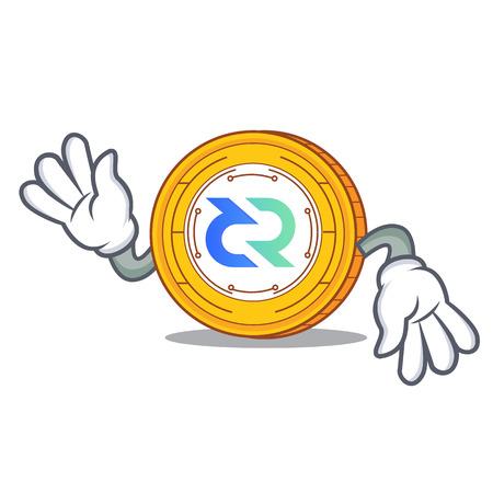 Crazy Decred coin mascot cartoon.