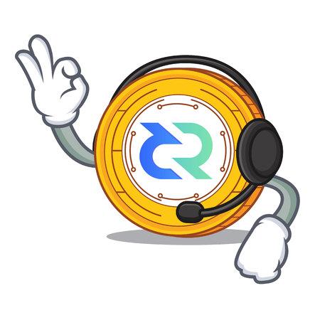 With headphone Decred coin mascot cartoon vector illustration