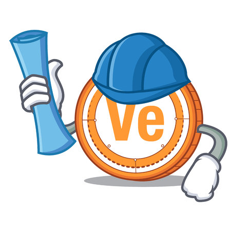 Architect Veritaseum coin character cartoon vector illustratrion