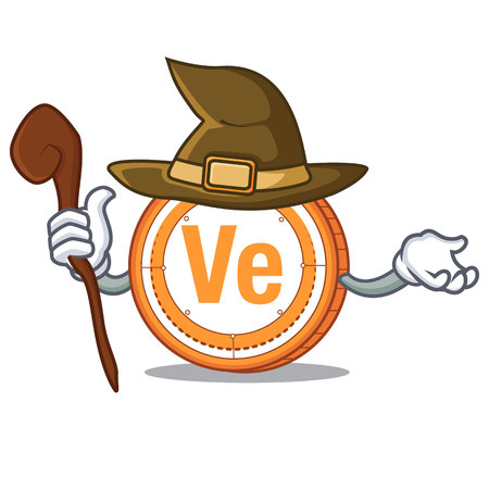 Witch  coin mascot cartoon vector illustration