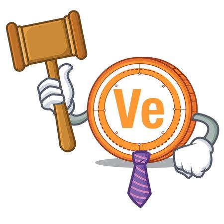 Judge Veritaseum coin mascot cartoon vector illustratrion