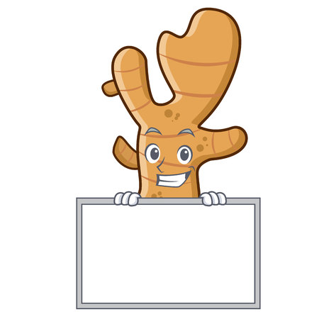 Grinning with board ginger character cartoon style Illustration