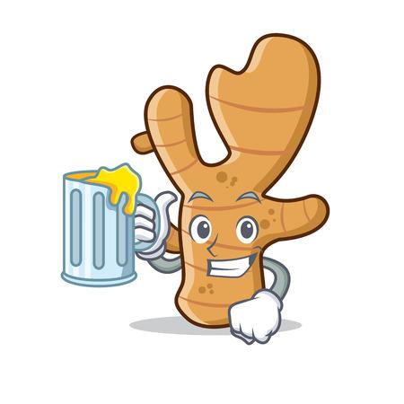 Avec illustration vectorielle de jus de gingembre mascotte style dessin animé Vecteurs