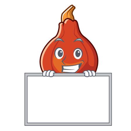 Grinning with board red kuri squash character cartoon vector illustration Illustration