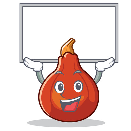 Up board red kuri squash character cartoon vector illustration