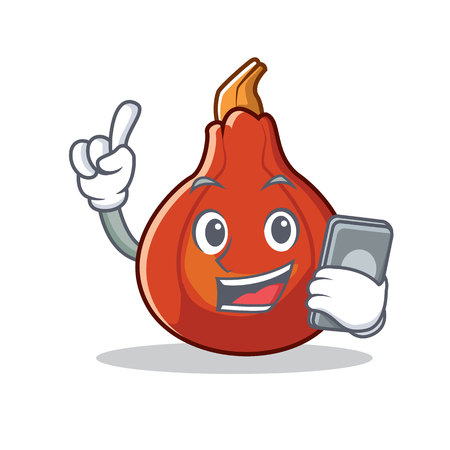 With phone red kuri squash character cartoon vector illustration Ilustrace