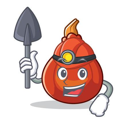 Miner red kuri squash mascot cartoon vector illustration Illustration