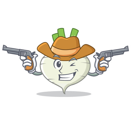 Cowboy turnip character cartoon style Illustration