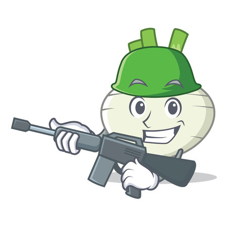 Army turnip character cartoon style