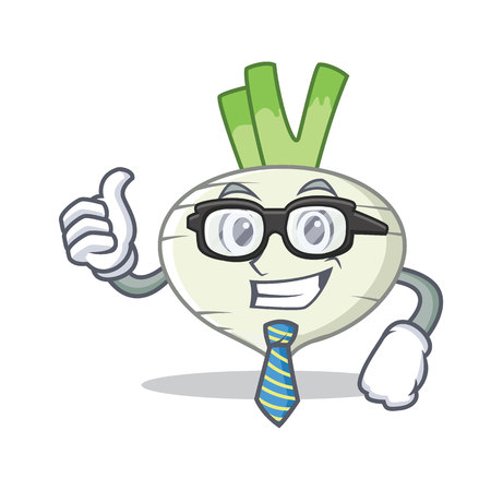 Businessman turnip character cartoon style vector illustration
