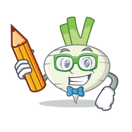 Student turnip character cartoon style vector illustration